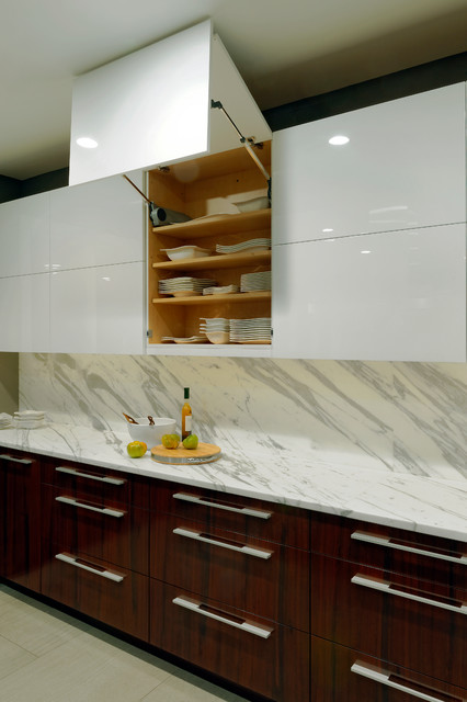 Servo-drive cabinet doors lift up - Contemporary - Kitchen - dc metro - by Jennifer Gilmer ...