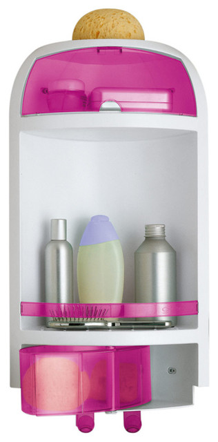 Pink Wall Mounted Corner Shower Caddy Contemporary