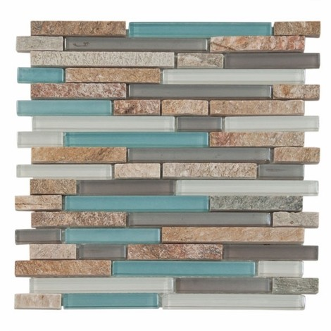 Kitchen Backsplash Glass Tile Aqua And Brown