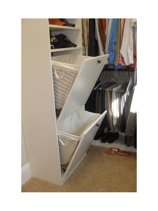 Closet Factory cool closet accessories - Tip out laundry baskets are available in multiple finishes and sizes with optional canvas liners.
