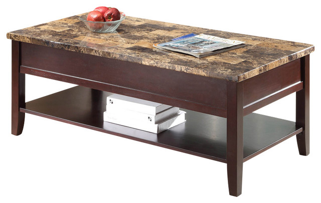 Homelegance Orton 3 Piece Faux Marble Top Coffee Table Set In Rich Cherry Traditional Coffee