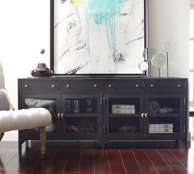 Shadow Box Industrial Black Metal Media Console - Industrial - Entertainment Centers And Tv ...