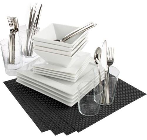 42 piece fab four carbon dinner set Modern Dinnerware