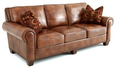 Steve Silver Silverado Leather Sofa With 2 Accent Pillows
