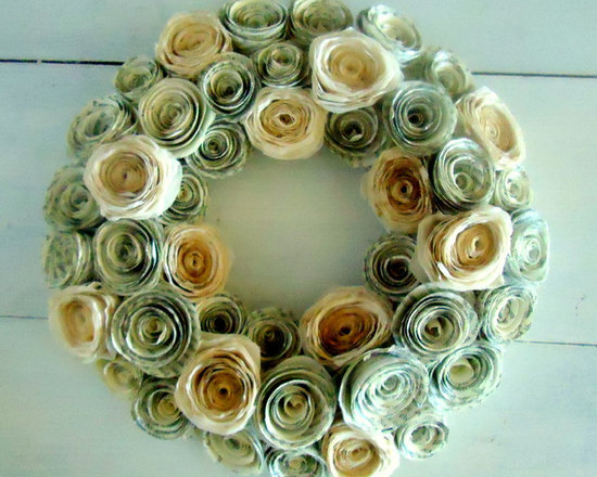 "Coffee Dyed Paper Flower Wreath - 10-11"" Wreath created from paper flowers made using book pages and coffee dyed-coffee filters"
