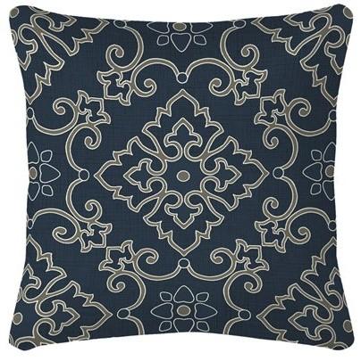 Garden Treasures Stencil Navy Blue/Texture Outdoor Accent Pillow