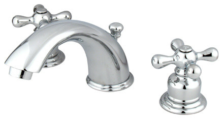 Two Handle 4in. to 8in. Mini Widespread Lavatory Faucet with Retail Pop-up modern-bathroom-faucets-and-showerheads