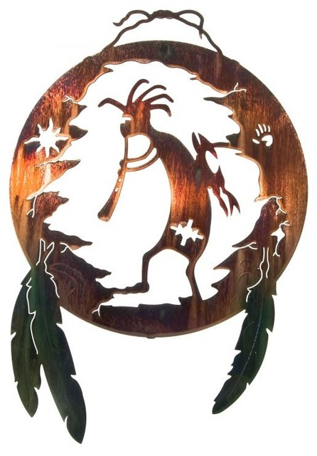 Southwest metal wall art kokopelli shield rustic
