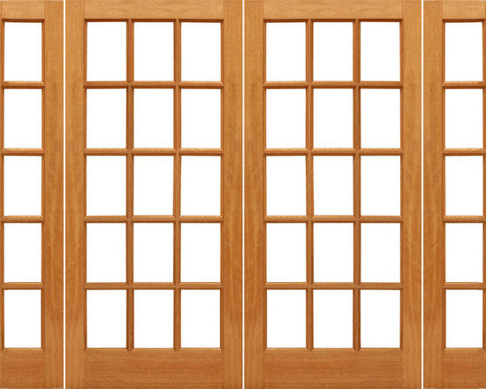 "Prehung 15-lite French Brazilian Mahogany Wood IG Glass Double Door Side lights - SKU#    15-lite-Ext-2-2Brand    AAWDoor Type    FrenchManufacturer Collection    Mahogany French DoorsDoor Model    Door Material    WoodWoodgrain    MahoganyVeneer    Price    2008Door Size Options    2(30"")+2(14"") x 80"" (7'-4"" x 6'-8"")  $02(30"")+2(18"") x 80"" (8'-0"" x 6'-8"")  $02(32"")+2(14"") x 80"" (7'-8"" x 6'-8"")  $02(32"")+2(18"") x 80"" (8'-4"" x 6'-8"")  $02(36"")+2(14"") x 80"" (8'-4"" x 6'-8"")  $02(36"")+2(18"") x 80"" (9'-0"" x 6'-8"")  $0Core Type    SolidDoor Style    Door Lite Style    Full Lite , 15 LiteDoor Panel Style    Ovolo StickingHome Style Matching    Craftsman , Colonial , Cape Cod , VictorianDoor Construction    Engineered Stiles and RailsPrehanging Options    PrehungPrehung Configuration    Double Door with Two SidelitesDoor Thickness (Inches)    1.75Glass Thickness (Inches)    1/2Glass Type    Double GlazedGlass Caming    Glass Features    Insulated , Tempered , low-E , Beveled , DualGlass Style    Clear , White LaminatedGlass Texture    Clear , White LaminatedGlass Obscurity    No Obscurity , High ObscurityDoor Features    Door Approvals    FSCDoor Finishes    Door Accessories    Weight (lbs)    1190Crating Size    25"" (w)x 108"" (l)x 52"" (h)Lead Time    Slab Doors: 7 daysPrehung:14 daysPrefinished, PreHung:21 daysWarranty    1 Year Limited Manufacturer WarrantyHere you can download warranty PDF document."