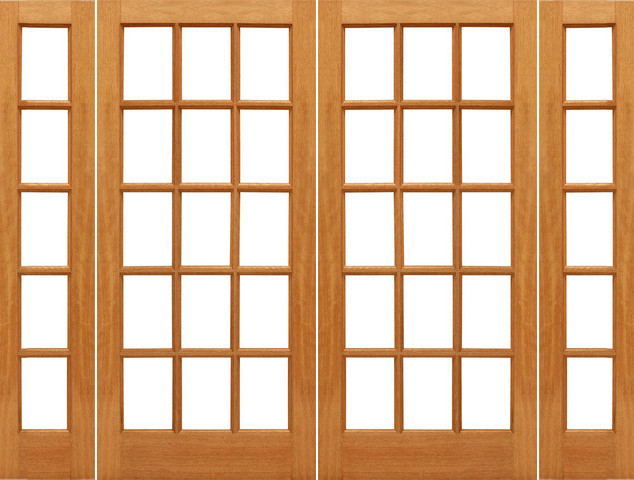 ... Mahogany Wood IG Glass Double Door Side lights traditional-front-doors