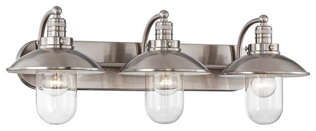 "Shop Sea Gull Lighting 3 Light Melody Brushed Nickel: Downtown Edison 28 1/2"" Wide Brushed Nickel Bath Light"