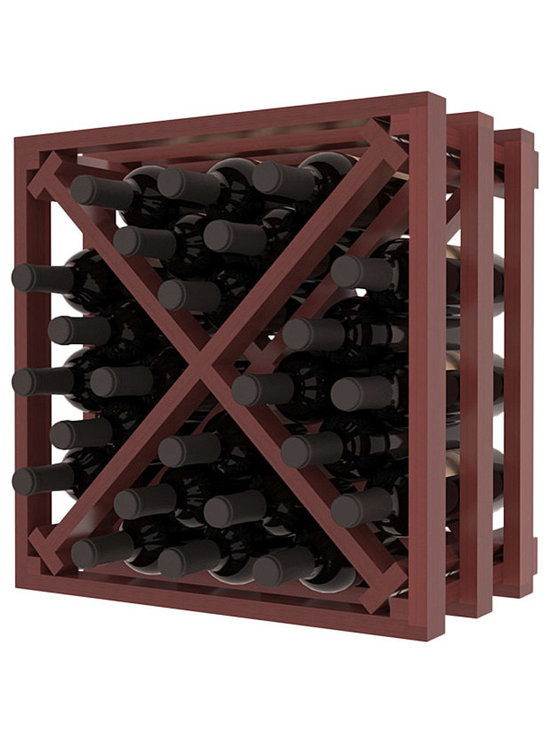 Lattice Stacking X Wine Cube in Redwood with Cherry Stain + Satin Finish - Designed to stack one on top of the other for space-saving wine storage our stacking cubes are ideal for an expanding collection. Use as a stand alone rack in your kitchen or living space or pair with the 16-Bottle Cubicle Wine Rack and/or the Stemware Rack Cube for flexible storage.