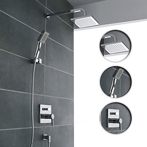 Wall Mount Contemporary Chrome Shower Faucet Set