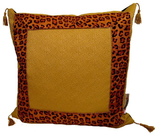 """Safari"" Leopard Trim Decorative Pillow decorative-pillows"