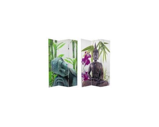 Functional Art/Photography Printed on a 6ft Folding Screen - Double sided photographic images of the Buddha printed on a three panel 6ft folding screen