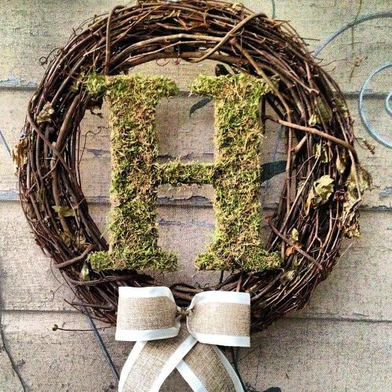 Custom Monogram Moss Letter Wreath By Petunias