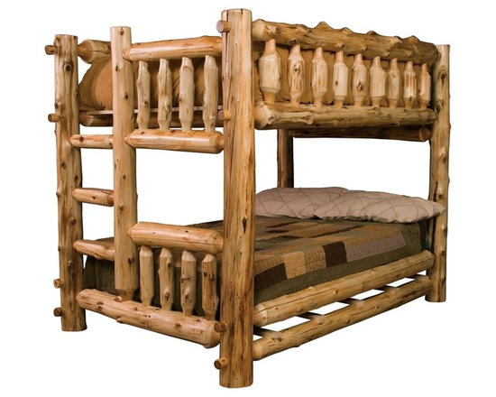 Fireside Lodge Furniture - Cedar Bunk Bed in Natural Finish - NOTE: ivgStores DOES NOT offer assembly on loft beds or bunk beds. Cedar Collection. Mattress not included. Bed sheets and shams not included. Northern White Cedar logs are hand peeled to accentuate their natural character and beauty. Individually hand crafted. Clear coat catalyzed lacquer finish for extra durability. Built-in ladder in the foot board. Queen bunk beds come standard with a T-support. Full log side rails for a sturdy construction. 2-Year limited warranty. Single over single: 87 in. L x 50 in. W x 71 in. H (400 lbs.). Double over double: 87 in. L x 65 in. W x 71 in. H (500 lbs.). Queen over queen: 92 in. L x 72 in. W x 71 in. H (515 lbs.). Bunk Bed Warning. Please read before purchase.""