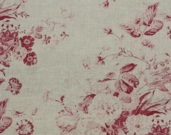Pink Roses Linen Curtain Fabric | Constance Curtain Fabric