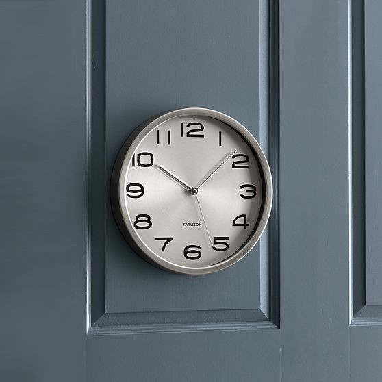 New silver wall clock modern wall clocks by west elm for Silver wall clocks modern