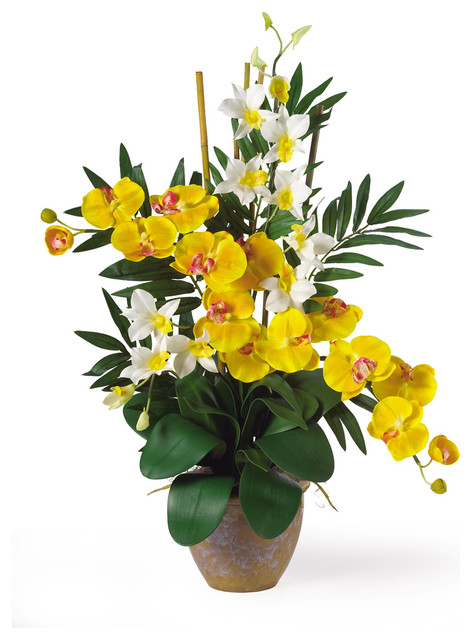 Double Phal/Dendrobium Silk Flower Arrangement tropical-artificial-flower-arrangements