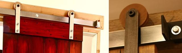 Modern Barn Door Hardware With Wooden Wheel modern-home-improvement