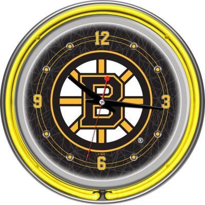 trademark global 14 in boston bruins nhl neon wall clock