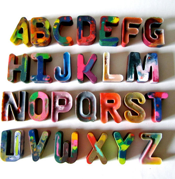 Recycled Alphabet Rainbow Crayons, Set of 26 by Art 2 the Extreme eclectic-home-decor