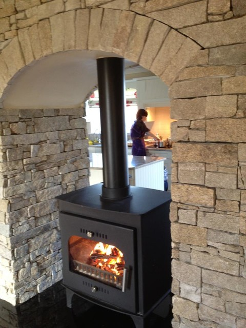 Boru wood burning stove contemporary other metro by - Fireplace between two rooms ...