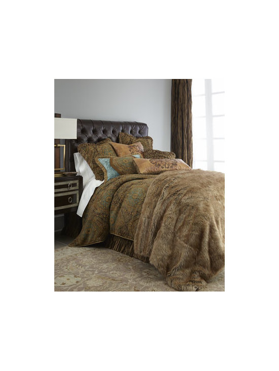 """Dian Austin Couture Home - Dian Austin Couture Home Queen Faux-Fur Coverlet, 95"""" x 90"""" - Exclusively ours. These luxe chenille bed linens feature highly-twisted boucle yarn accents for added texture and dimension. Handcrafted in the USA of imported and domestic materials by Dian Austin Couture Home®. Dry clean. The chenille duvet co..."""