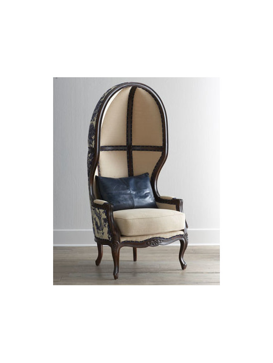 """Massoud - Massoud """"Blue Ming"""" Balloon Chair - The classic balloon chair takes on Asian flair with gorgeous chinoiserie upholstery. Birch frame. Linen/rayon and cotton upholstery. Finished back. 31""""W x 30""""D x 67""""T; seat, 20""""T; arms, 25""""T. Made in the USA of imported material. Boxed weight, app..."""
