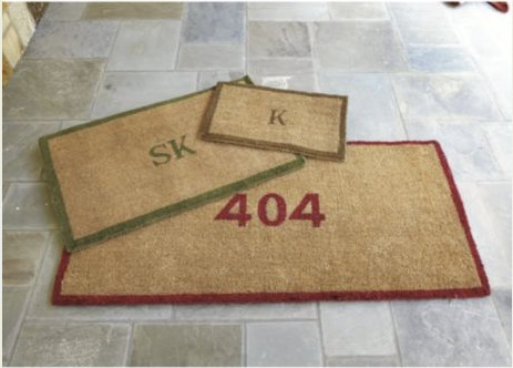 Red Bordered Initial Coir Mat contemporary-doormats