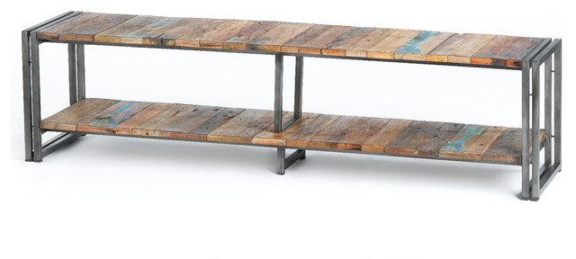 shelf style tv unit made of metal and recycled wood from. Black Bedroom Furniture Sets. Home Design Ideas
