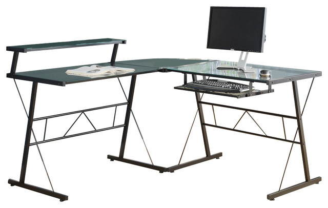 monarch specialties l shaped computer desk in black with tempered glass contemporary desks. Black Bedroom Furniture Sets. Home Design Ideas