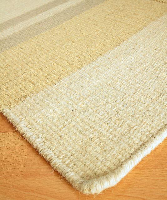 Lighthouse Creme Wool Berber Stripe Rug - 3' x 5' transitional-rugs