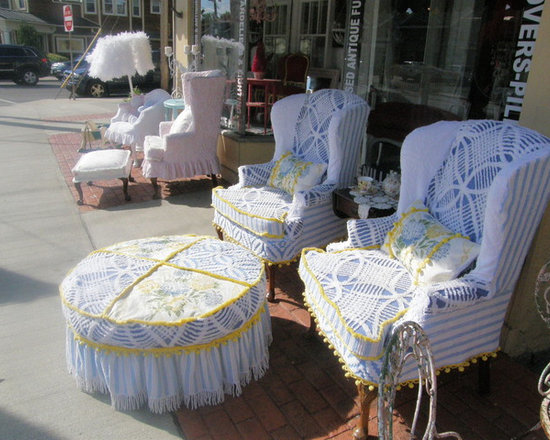 wingbach chairs vintage chenille bedspread slipcovers blue yellow ottoman - this was for a client. i made slipcovers for her pair of wingback chairs and round ottoman using vintage chenille bedspreads in blues and yellows