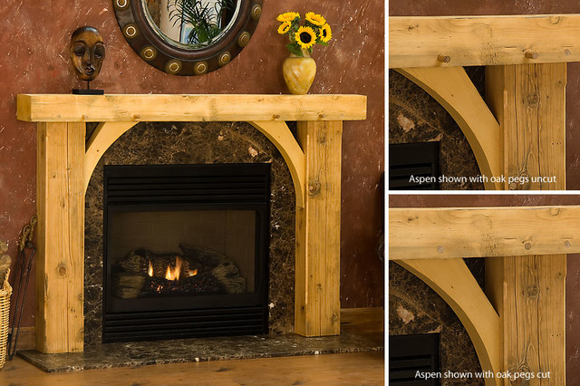 aspen timber wood fireplace mantel rustic indoor