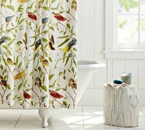 Roll Up Curtains For French Doors Shower Curtains with Bird Print