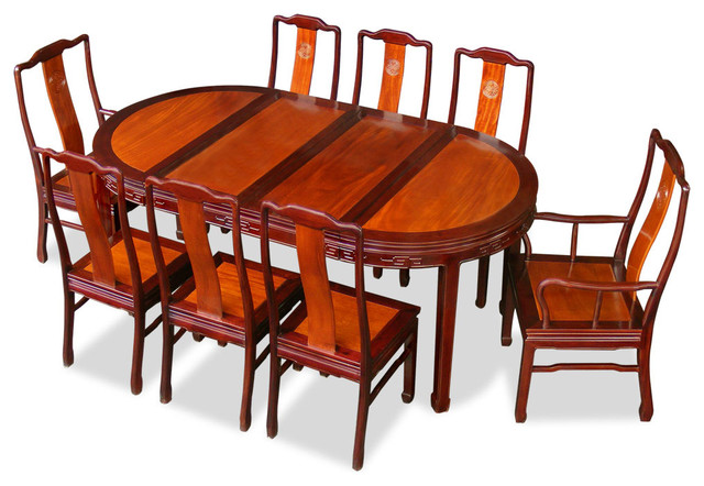 80in Rosewood Longevity Design Oval Dining Table With 8