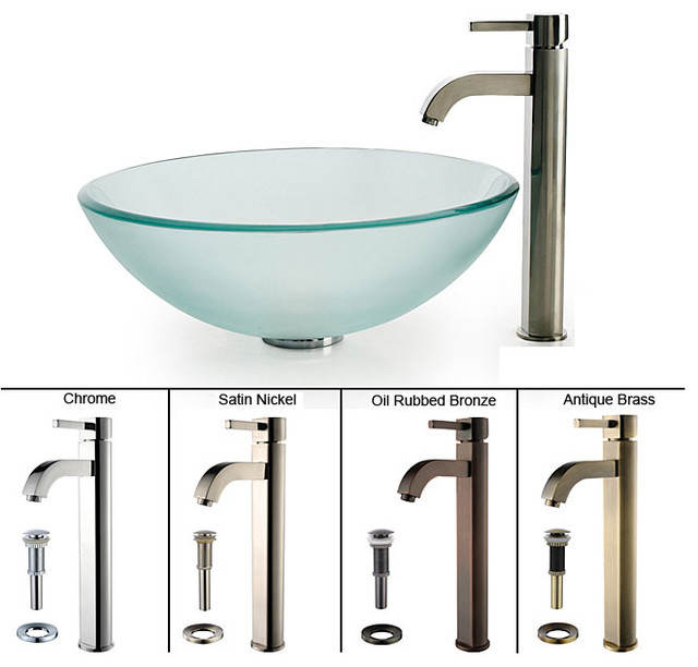 Kraus Frosted Glass Vessel Sink and Ramus Faucet contemporary-bathroom-sinks