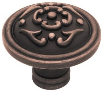 Liberty Hardware PN1510-VBR-C FRENCH LACE II Cab HW-Liberty 1.49 Inch Round Knob modern-cabinet-and-drawer-knobs