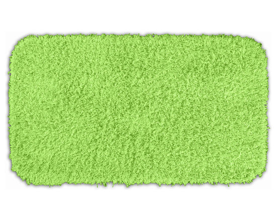"Sands Rug - Quincy Super Shaggy Lime Green Washable Runner Bath Rug (2'6"" x 4'2"") - Jazz up your bathroom, shower room, or spa with a bright note of color while adding comfort you can sink your toes into with the Quincy Super Shaggy bathroom collection. Each piece, whether a bath runner, bath mat or contoured rug, is created from soft, durable, machine-washable nylon. Floor rugs are backed with skid-resistant latex for safety."