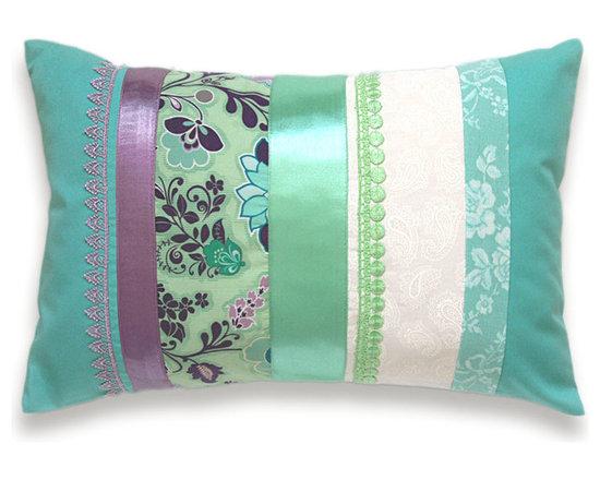 Aqua Blue Mint Green Turquoise Mauve Lumbar Pillow Case 12 x 18 in -
