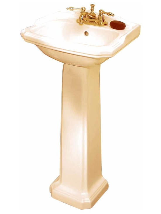 """Renovators Supply - Pedestal Sinks Bone China Cloakroom Space-saving Pedestal Sink 4""""""""   18149 - Petite Pedestal Sinks: Classic bathroom basin sink with pedestal. Easy to clean Grade A vitreous china. Open backed pedestal for easy installation even with non-standard rough-ins. The bone vitreous china cloak room pedestal sink measures 19 inch wide, 33 inch high, projects 14 3/4 inch, and is 5 3/4 inch deep. Backsplash is 1 7/8 inch high. Takes a 4 inch centerset faucet (not included)."""