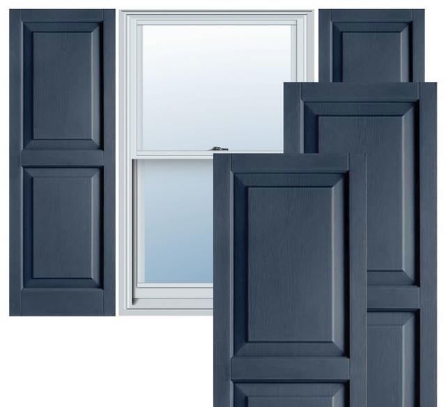 "14 1/2"" x 62"" Builders Choice Vinyl Raised Panel Shutters,w/Screws, Indigo Blue traditional-window-treatments"
