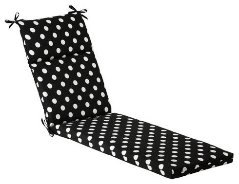Outdoor Black White Polka Dot Chaise Lounge Cushion