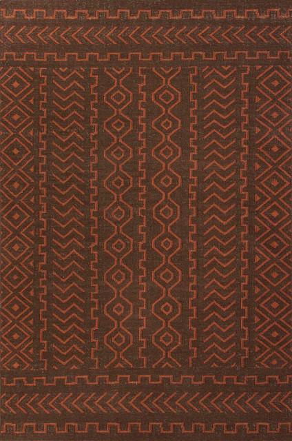Flat-Weave Tribal Pattern Wool Brown/Red Area Rug (9 x 12) mediterranean-rugs