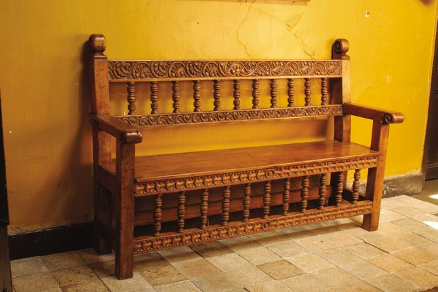 Carved Spanish colonial quotCuscoquot bench Mediterranean  : mediterranean benches from www.houzz.com size 640 x 426 jpeg 73kB