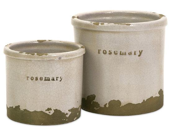 iMax - Rosemary Herb Pots, Set of 2 - Perfectly sized, this set of two Rosemary Herb pots is made of red clay and kiln fired to perfection. Finished in a white crackle glaze, rough edges are purposely exposed to add character.
