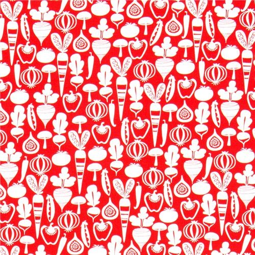 red Michael Miller fabric with tiny vegetables fabric