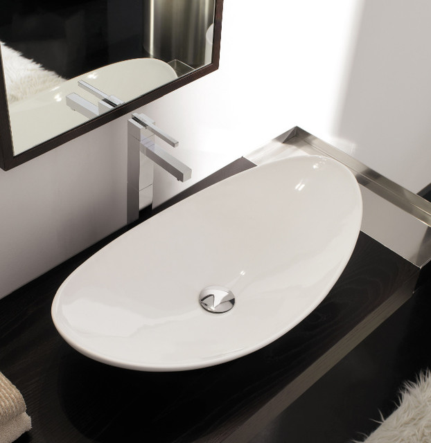 Modern Vessel Sinks : Oval Shaped White Ceramic Vessel Sink - Contemporary - Bathroom Sinks ...